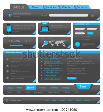 Web designers toolkit. Design elements collection. Vector. Editable. - stock vector