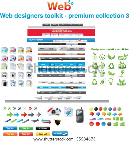 Web designers toolkit - premium collection 3 - stock vector