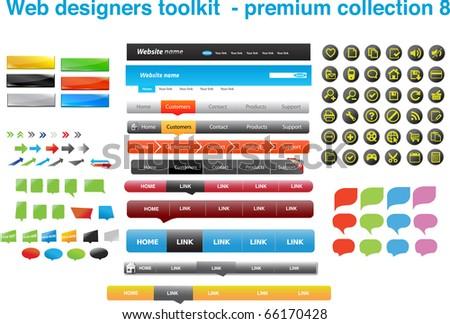 Web designers toolkit - premium collection 8 - stock vector