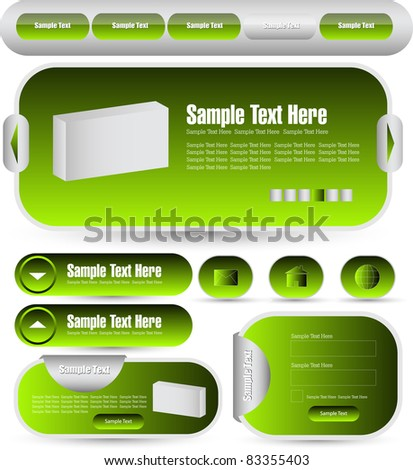 web designing kit with navigation pack - stock vector