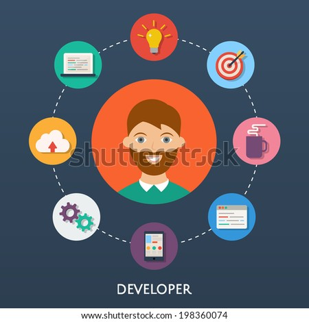 Web developer, character illustration, icons. Vector flat style  - stock vector