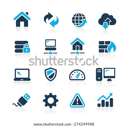 Web Developer Icons // Azure Series - stock vector