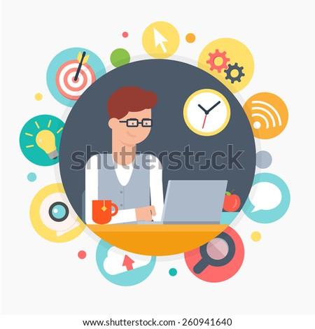 Web developer, programmer, designer. Vector illustration, web development concept - stock vector
