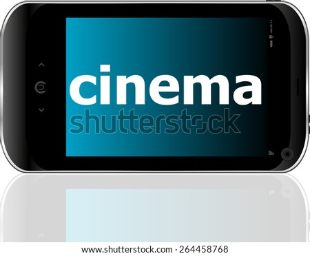 Web development concept: smartphone with word cinema on display - stock vector
