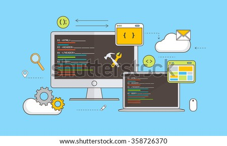Web Development concept with various devices and infographic elements on blue background. - stock vector