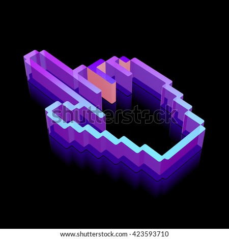 Web development icon: 3d neon glowing Mouse Cursor made of glass with reflection on Black background, EPS 10 vector illustration. - stock vector