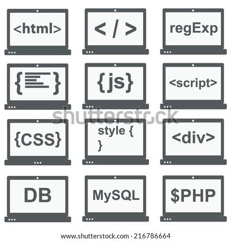 web development icon, set on laptop screen - stock vector