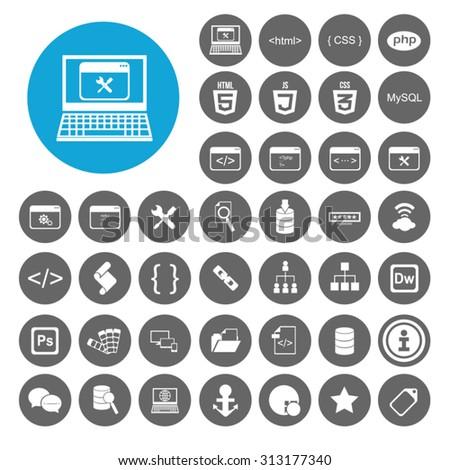 Web Development icons set. html, html 5, css, tag, mysql, curves, php, script, style, javascript. Illustration EPS10 - stock vector