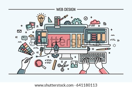 Web development, line art banner. site with responsive design. colorful flat vector illustration.