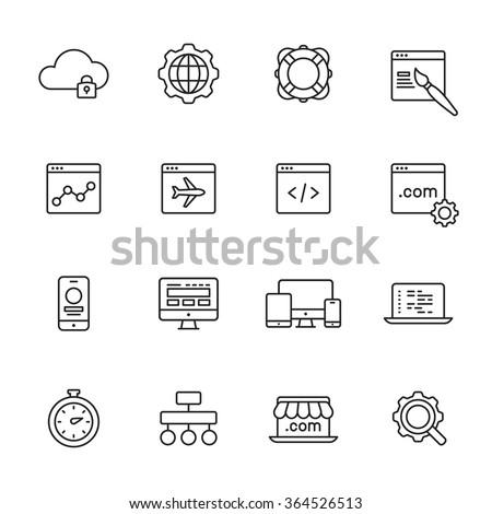 Web Development Line Icons Stock-vektorgrafik 364526513 - Shutterstock