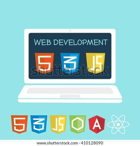 Web development on laptop screen. Vector illustration of software icons for site building, web development - stock vector