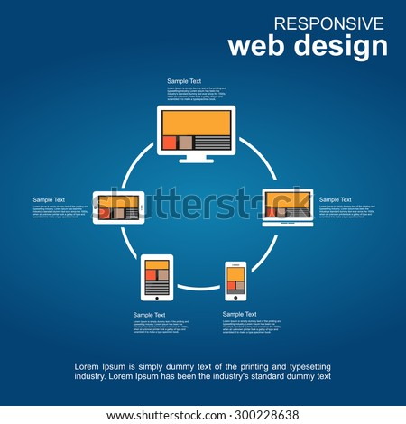 Web development or responsive web design infographic elements. - stock vector