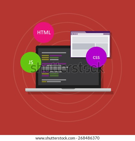 web development programming html php css js - stock vector