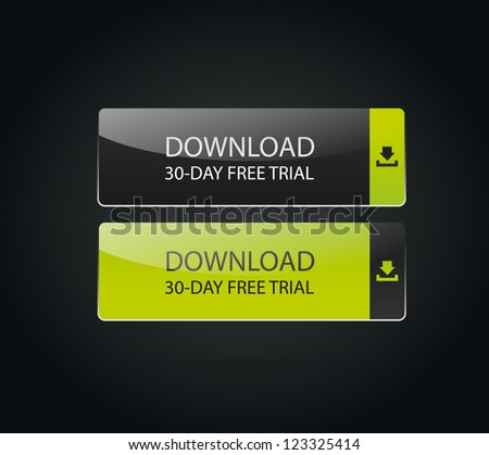 Web download icon, green - stock vector