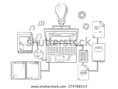 Web education, knowledge or e-learning concept with laptop computer and light bulb surrounded by a variety of interconnected education icons. Vector sketch style - stock vector
