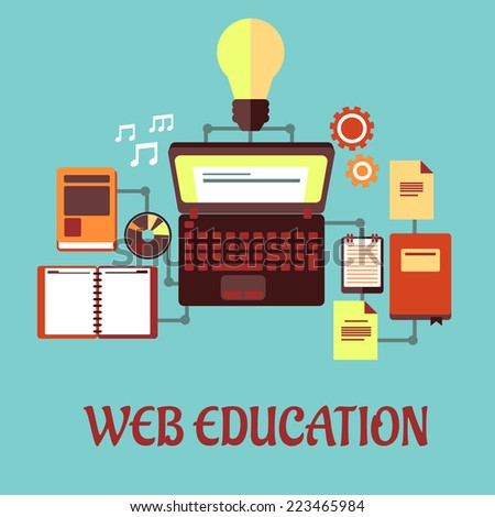 Web Education or e-learning concept with laptop computer and light bulb surrounded by a variety of interconnected education icons on a blue background. Flat design - stock vector