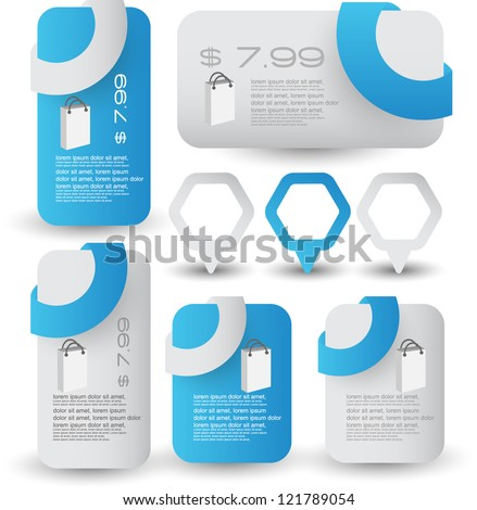 web element set for sale and advertisement - stock vector