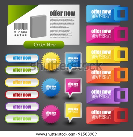 web elements collection - stock vector