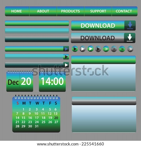 Web Elements Design Blue and Green - vector illustration - layout set - stock vector