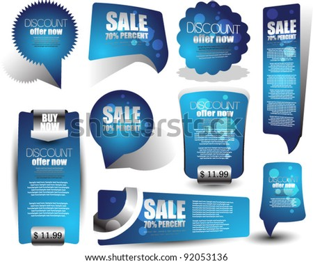 web elements for sale and advertisement - stock vector
