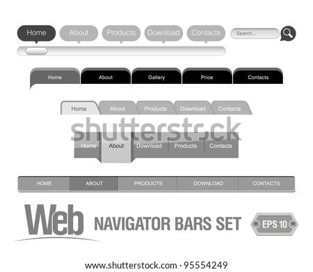 Web Elements Navigation Bar Set - stock vector