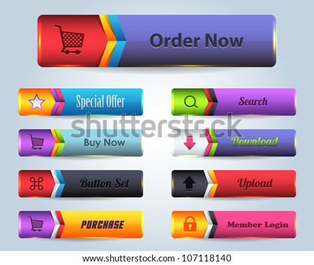 Web Elements Shiny Vector Button Set