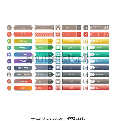 Web elements site buttons and vector shop button set
