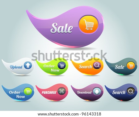 Web Elements Vector Button Set - stock vector
