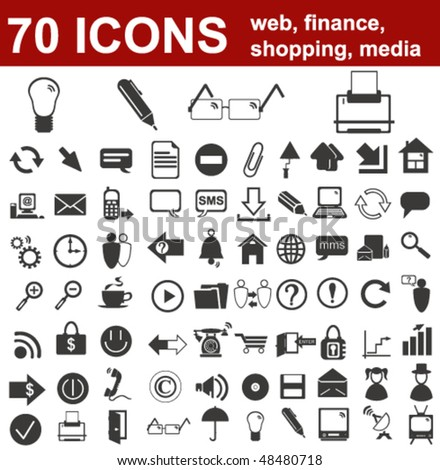 Web, Finance, Shopping and Media Icons - stock vector