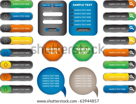 web form and buttons - stock vector