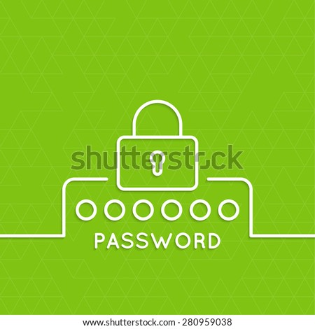 Web form to access the site. Password and lock. Mobile and web applications. minimal. Outline. - stock vector