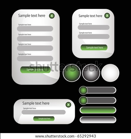 web forms and buttons - stock vector