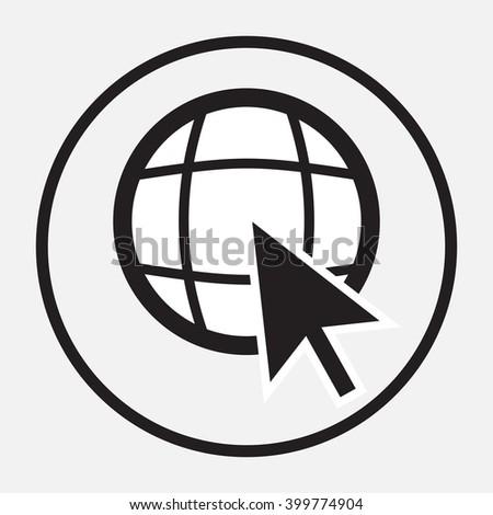 Web globe with arrow cursor monochrome. Globe web and world wide web, www globe network. Internet earth web world. Vector flat design illustration - stock vector