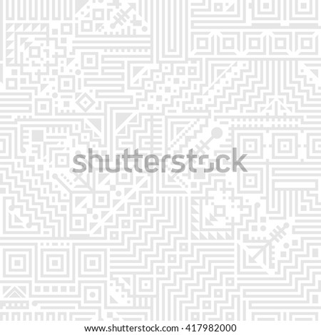 Web gray seamless background with abstract ethnic pattern of lines, squares, triangles.