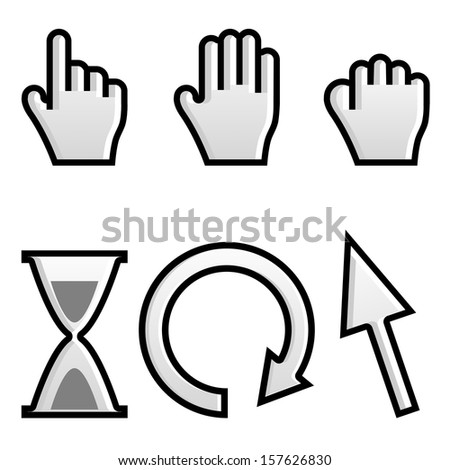 Web hand and arrow cursor with hour-glass.vector - stock vector