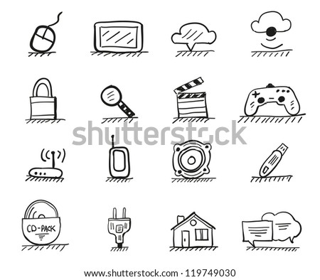 Web hand drawn icons - stock vector