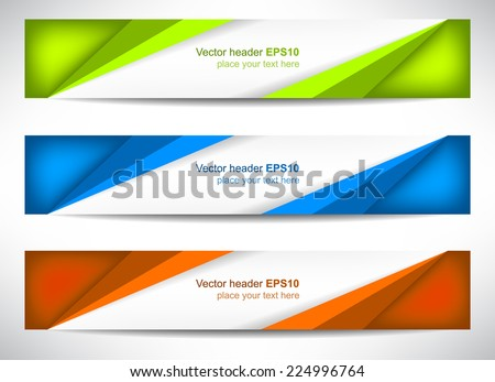 Web header, set of vector banner, design with precise dimension/can be used for your website presentation/vector illustration - stock vector