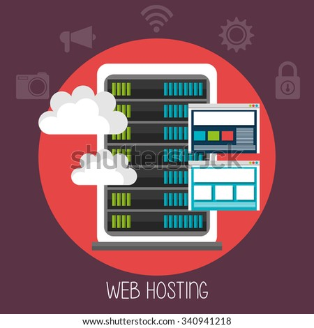 Web housting, cloud computing and technology theme design, vector illustration graphic - stock vector