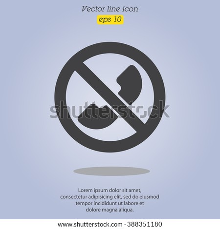 Web icon. Calls banned, Forbidden call - stock vector