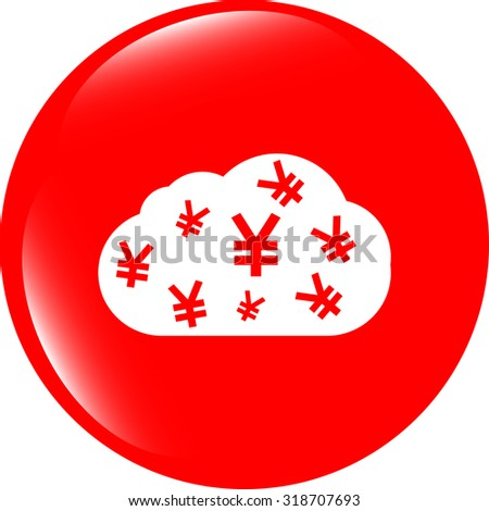 web icon cloud with yen sign, web button isolated on white vector illustration