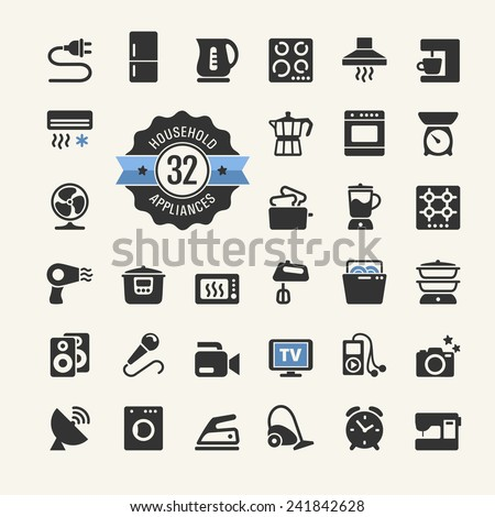 Web icon collection - household appliances - stock vector