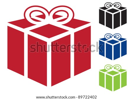 Web icon for gift or present in simple colours - stock vector