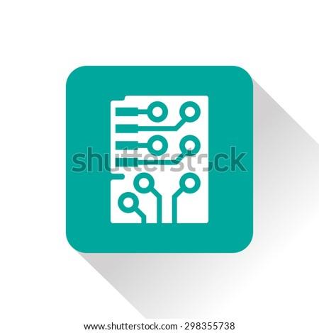 Web icon of circuit board, vector design - stock vector