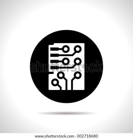Web icon of microchip, vector design - stock vector