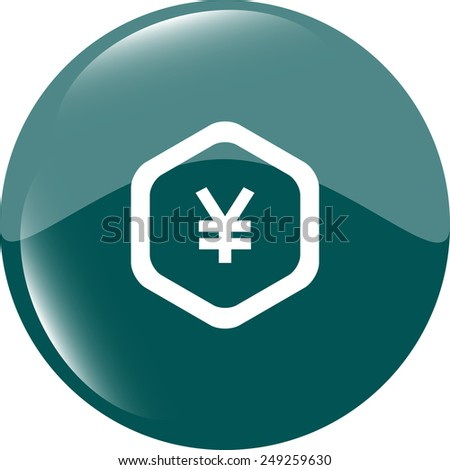 web icon on protection sign with yen money sign - stock vector