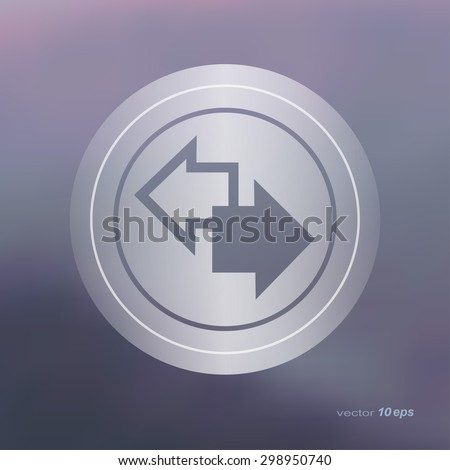 Web icon on the blurred background. Arrow Symbol.  Vector illustration