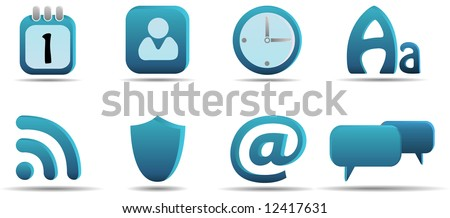 Web icon set 6 | Aqua series. Find more from the same series in my portfolio. - stock vector