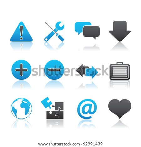 Web icon set 17 - Blue Series.  Vector EPS 8 format, easy to edit. - stock vector