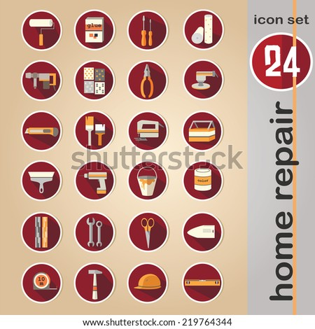 Web icon set - building, construction and home repair tools - stock vector