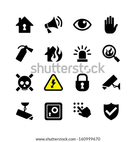 Web icon set - danger, fire, security, surveillance - stock vector